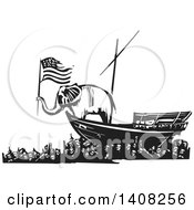 Clipart Of A Black And White Woodcut Republican Elephant Holding An American Flag On A Boat Over People Royalty Free Vector Illustration