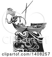 Clipart Of A Black And White Woodcut Republican Elephant Holding An American Flag On A Ship Over An Octopus Royalty Free Vector Illustration