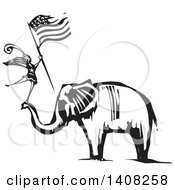 Clipart Of A Black And White Woodcut Female Dancer Holding An American Flag And Standing On An Elephants Trunk Royalty Free Vector Illustration