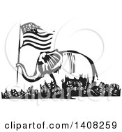 Clipart Of A Black And White Woodcut Republican Elephant Holding An American Flag Over A Rioting Crowd Royalty Free Vector Illustration