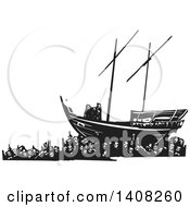 Black And White Woodcut Refugee Family On A Ship Over A Crowd Of People