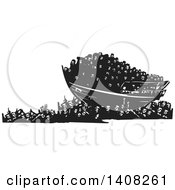 Clipart Of A Black And White Woodcut Refugee Ship Over A Crowd Of People Royalty Free Vector Illustration