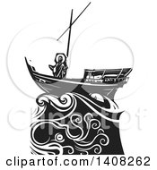 Clipart Of A Black And White Woodcut Scene Of Jesus Christ On A Ship In A Storm Sea Of Galilee Royalty Free Vector Illustration by xunantunich