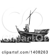 Clipart Of A Black And White Woodcut Scene Of Mankind Carrying Jesus Christ On A Ship Royalty Free Vector Illustration by xunantunich