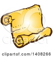 Clipart Of A Golden Parchment Scroll Royalty Free Vector Illustration