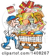 Clipart Of A Cartoon Caucasian Man Grocery Shopping For Superbowl Sunday World Series With A Cart Full Of Snacks Royalty Free Vector Illustration by Johnny Sajem
