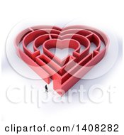 3d Man Outside A Red Heart Shaped Maze On A White Background