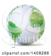 Clipart Of A 3d White Earth Globe With Paint Dripping From Green Continents Royalty Free Illustration by Mopic