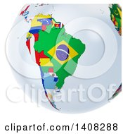 3d Earth Globe With Continents Made Of National Flags Featuring South America