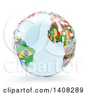 3d Earth Globe With Continents Made Of National Flags Featuring The Atlantic Ocean