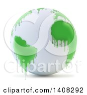 Clipart Of A 3d White Earth Globe With Paint Dripping From Green Continents Royalty Free Illustration