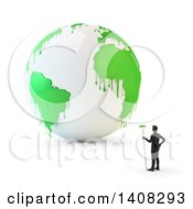 Clipart Of A 3d Man Standing By A White Earth Globe With Paint Dripping From Green Continents Royalty Free Illustration