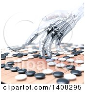 Clipart Of A 3d Robotic Hand Competing In The Game Of Go Royalty Free Illustration