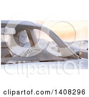 Clipart Of A 3d Robot Driving A Car Stuck In A Traffic Jam Royalty Free Illustration