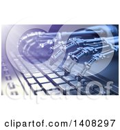 Clipart Of A Pair Of 3d Skeletal Robot Hands Typing On A Computer Keyboard Royalty Free Illustration by Mopic