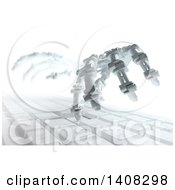 Clipart Of A Pair Of 3d Skeletal Robot Hands Typing On A Computer Keyboard Royalty Free Illustration
