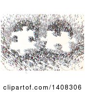 Poster, Art Print Of Crowd Of People Forming 3d Jigsaw Puzzle Pieces