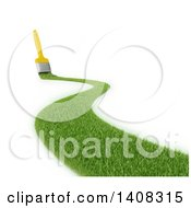 Clipart Of A 3d Paintbrush Leaving A Stroke Of Grass Royalty Free Illustration by Mopic