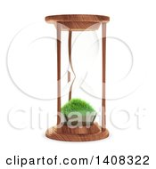 3d Hourglass With Grass Inside On A White Background