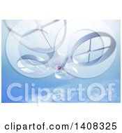 Clipart Of A 3d UAV Quadrocopter Drone Royalty Free Illustration