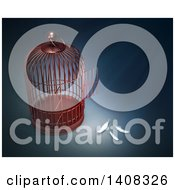 Clipart Of A 3d Open Bird Cage With Feathers Depicting Freedom Escape Royalty Free Illustration by Mopic