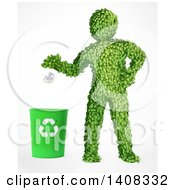 3d Green Leafy Man Recycling On A White Background