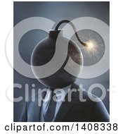 Clipart Of A 3d Bomb Headed Business Man Royalty Free Illustration by Mopic