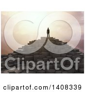 Clipart Of A 3d Man Standing Atop A Rocky Mountain At Sunset Royalty Free Illustration