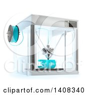 3d Printer Machine With Text On A White Background