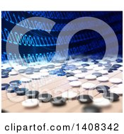Clipart Of Artificial Intelligence Competing In The Game Of Go With Binary Code Over The Board Royalty Free Illustration by Mopic