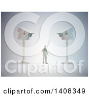 Clipart Of A 3d Man Standing Below Cameras Communications Surveillance Royalty Free Illustration