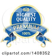 Blue And Gold Luxurious Retail Ribbon Banner Design Element
