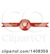 Red And Gold Luxurious Retail Quality Guarantee Ribbon Banner Design Element