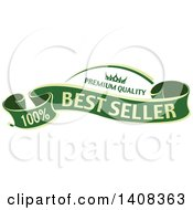 Clipart Of A Green And Gold Luxurious Retail Ribbon Banner Design Element Royalty Free Vector Illustration