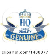 Clipart Of A Blue And Gold Luxurious Retail Ribbon Banner Design Element Royalty Free Vector Illustration