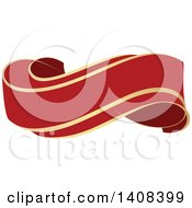 Clipart Of A Red And Gold Luxurious Retail Ribbon Banner Design Element Royalty Free Vector Illustration by dero