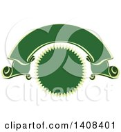 Clipart Of A Green And Gold Luxurious Retail Ribbon Banner Design Element Royalty Free Vector Illustration by dero