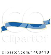 Clipart Of A Blue And Gold Luxurious Retail Ribbon Banner Design Element Royalty Free Vector Illustration by dero