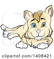 Clipart Of A Cartoon Resting Cat Royalty Free Vector Illustration