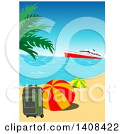 Clipart Of A Cruise Ship Near An Island With Travel Items On A Tropical Beach Royalty Free Vector Illustration by dero