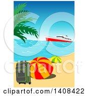 Cruise Ship Near An Island With Travel Items On A Tropical Beach
