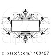 Clipart Of A Black And White Wedding Swirl And Crown Design Element Royalty Free Vector Illustration by Lal Perera