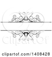 Clipart Of A Black And White Wedding Swirl Design Element Royalty Free Vector Illustration