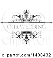Black And White Wedding Swirl And Crown Design Element With Text
