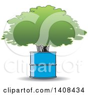 Clipart Of A Tree Growing In A Barrel Royalty Free Vector Illustration by Lal Perera