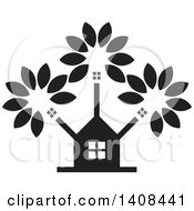 Clipart Of A Black And White House And Tree Royalty Free Vector Illustration