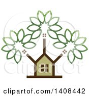 Clipart Of A House And Tree Royalty Free Vector Illustration by Lal Perera