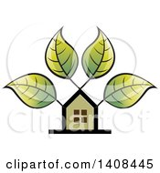 Clipart Of A House And Tree With Leaves Royalty Free Vector Illustration