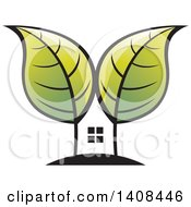Clipart Of A House And Tree With Leaves Royalty Free Vector Illustration by Lal Perera