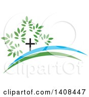 Clipart Of A Cross Tree Royalty Free Vector Illustration by Lal Perera